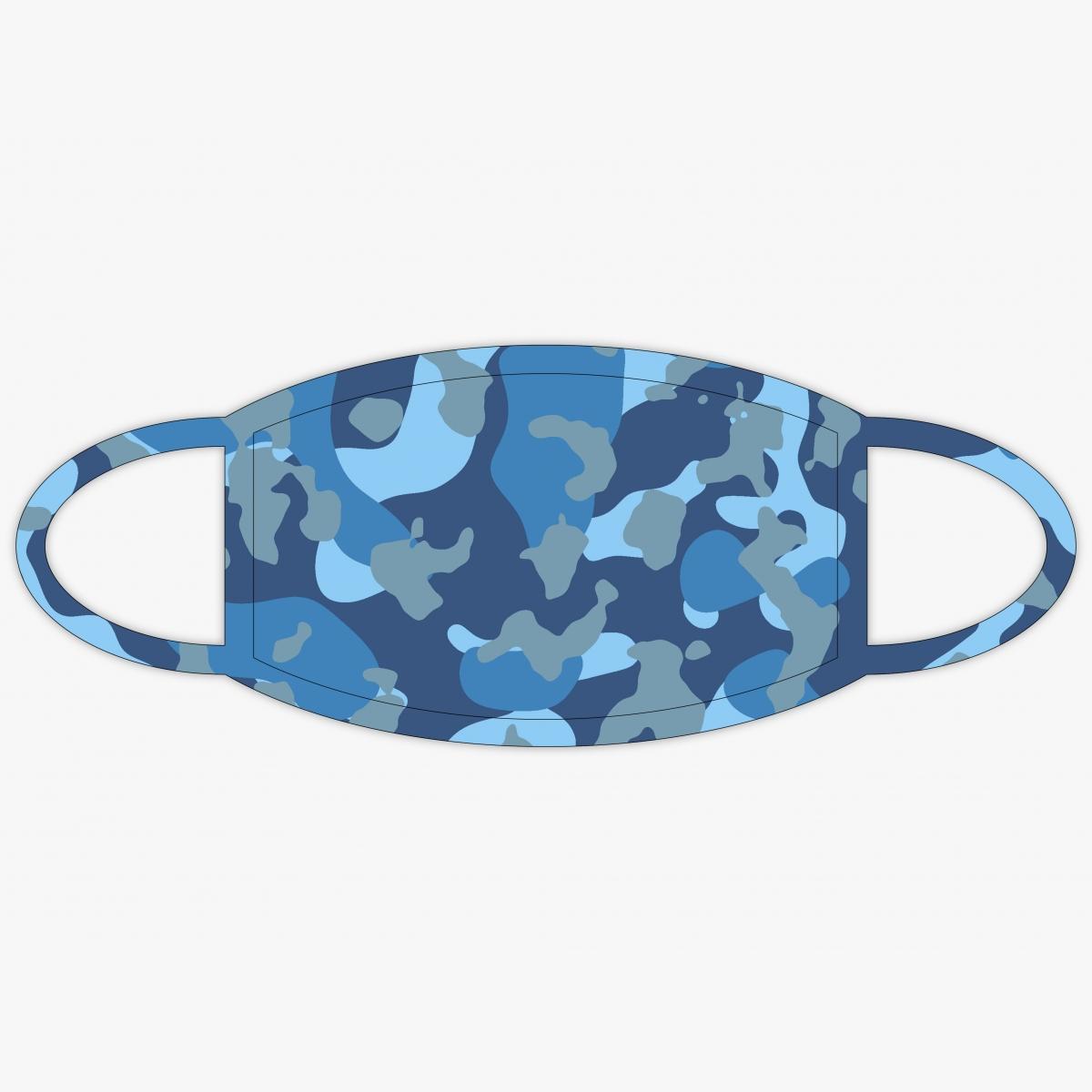 Mund-Nasenschutzmaske in Camouflage Blau hier online personalisieren und bestellen